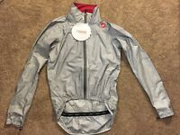 NEW with TAG Castelli Rosso Corsa Tempesta Race Rain Wind Jacket Large