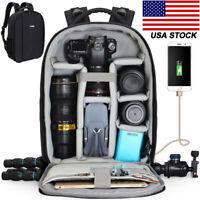 Large Capacity Camera Bag Backpack w/USB Tripod Strap For Canon Nikon Sony SLR