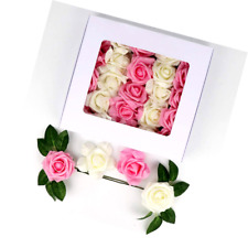Silk Wedding Artificial Flowers Rose 30 pcs Diy Real Touch Wedding White Pink
