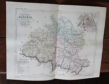 1850 Carte Géographique Atlas époque couleur Département 09 Ariège Foix