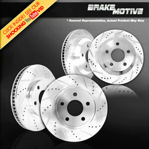 Front & Rear Drilled Slotted Brake Rotors For Jaguar S-Type R XF XJ XJR XK XKR