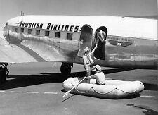 Hawaiian Air 1957 flight crew life raft drill next to Dc-3 8 x 10 Photograph