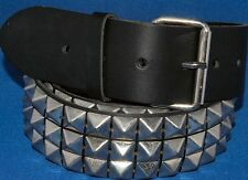 Black Real Leather 3 Row Pyramid Studded Belt 50mm 2in Punk Goth Snap on xl xxl