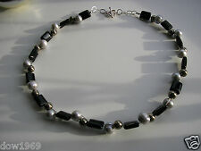 925 STERLING SILVER NECKLACE GENUINE PEARL, AGATE, PYRITE JEWELLERY 20inch LONG