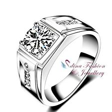 18K White Gold Plated Round Cut Diamond Shinny Engagement Wedding Men`s Ring