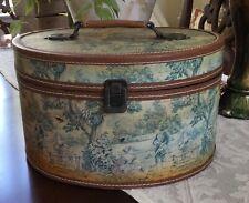 Vintage Vanity Storage Case Scenic Pastoral Toile Distressed Golden Ivory Wood
