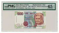 ITALY banknote 1000 LIRE 1990. replacement PMG MS-65 EPQ