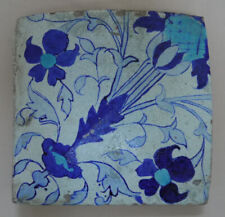 "Islamic Antique: Damascus (C17th) ""Blue & Turquoise Floral Motif"" Square TILE"