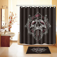 "60/72/79"" Halloween Punk Skull Waterproof Polyester Shower Curtain &Hook 2673"