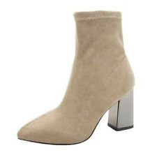 New Womens Block Heel Ankle Boots Casual Pointy Toe Office Smart Shoes Pumps