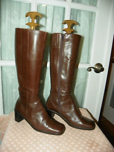 """Valerie Stevens Brown Leather Heeled Fashion Boots """"Toronto"""" Women's size 7 M"""
