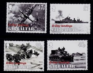 GIBRALTAR  SCOTT#  299-302  MNH MILITARY BOMBER WWII, SHIP WWII, TROOPS ON BEACH