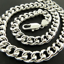 Fsa873 Genuine Real 925 Sterling Silver S/F Solid Mens Heavy Curb Necklaces