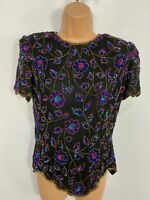 WOMENS PAPELL BOUTIQUE EVENING SIZE SMALL BLACK MIX EMBELLISHED SILK BLOUSE TOP