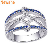Newshe Wedding Engagement Ring Blue Sapphire White Cz 925 Sterling Silver Size 5