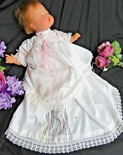 VINTAGE Doll clothes CHRISTENING GOWN handmade LAYERED lace PINK ribbon trim 20""