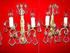 paire d'appliques bronze et cristal à 2 bras de lumière