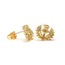 9ct Gold Scottish Thistle Stud Earrings / Thistles / Studs / Scotland