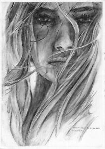 original painting A4 149VL art samovar Realism Oil dry brush female portrait