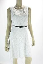 CONNECTED APPAREL White Embroidered Lace Belted Fit n Flare Dress NWOT 8P