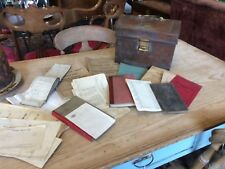 Old Metal British Railway Tin With Contents Maps Receipt Books Time Tables