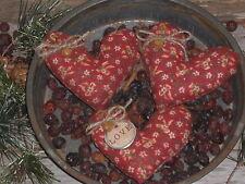 3 Primitive Valentine Floral Fabric LOVE Hearts Bowl Fillers Ornies Tucks