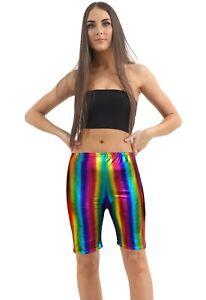 New Unisex Shiny Metallic Rainbow Cycling Shorts Half Length Striped Leggings UK