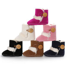 Baby Boy Girl Faux Fur Snow Boots Crib Shoes Pre Walking Winter Warm Boots 0-18M