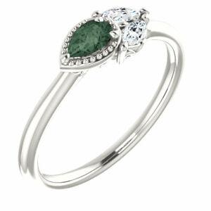 Chatham Created Alexandrite & 1/8 CTW Diamond Ring In Platinum