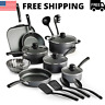 Cookware Set Primaware 18 Piece Non-stick Steel Gray Electric Gas Cooktops New