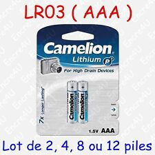 1x Jeu de 2 blister Camelion Batterie au Lithium Micro AAA P7 Lr03 Fr03