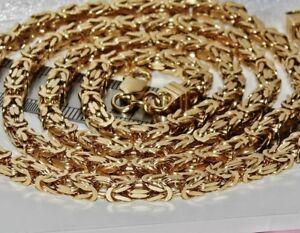 9ct Gelb Gold auf Silber 30 Zoll Quadrat Byzantinisch Solid Link Kette Herren/Damen