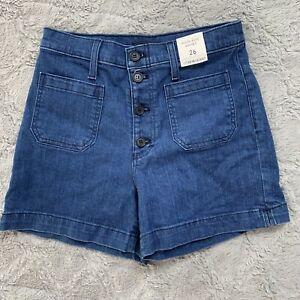 J. Crew High Rise Denim Jean Shorts Size 26 Patch Pockets