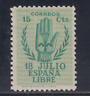 ESPAÑA (1938) NUEVO SIN FIJASELLOS MNH - EDIFIL 851 (15 cts) ALZAMIENTO - LOTE 1