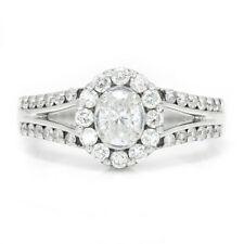Oval Diamond Halo Split Shank Engagement Ring 14K White Gold .83ctw