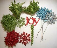 "Christmas Glitter LOT 4""  Snowflake Ornaments Floral Picks Birds RED GREEN BLUE"