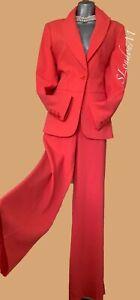 Karen Millen UK12 Orange Coral Crepe Tailored Jacket & Trousers Suit Formal Work