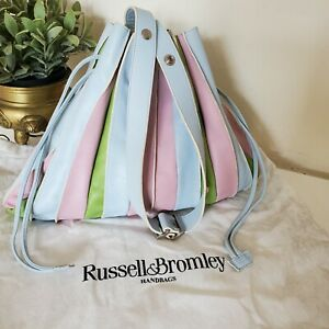 Russell & Bromley Leather Shoulder Bag Drawstring Pouch Handbag Blue pink green