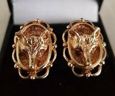 "Elizabeth ll 9ct Yellow Gold novelty oval cuff links. Fashioned as"" Fox  heads """