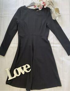M&S 10 black smart work office business career flare stretch dress knee lenght