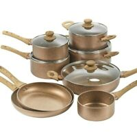 URBN-CHEF Ceramic Rose Gold Induction Cooking Pots Pans Frying Pan Cookware Set