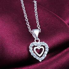 Silberkette Silberschmuck Kette 925 Silber Halskette mit Anhänger Herz Kristalle