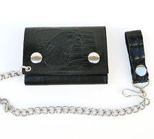 Black Genuine Leather Biker's Trifold Wallet ID Card Holder Metal Chain