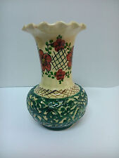 Antiguo jarron Florero de ceramica realizado a mano en España (Talavera)