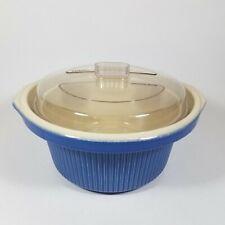 VTG RIVAL Crock Pot Slow Cooker BLUE Replacement Stoneware Insert Liner Lid 3355