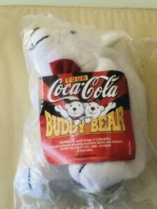 Vintage Coca Cola Buddy Bear stuffed bean bag toy New and sealed small white