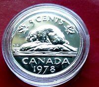 SPECIMEN BU 1978 CANADA PR LIKE 5 Cents, superb Gem Set Issue COIN with HOLDER.