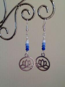 Glass Seed Bead & Silver Lotus Flower Charm Long Drop Dangly Earrings ~ Yoga