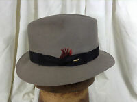 Vintage Byron Kasmir Finish Grosgrain Ribbon Fedora Hat Gray Size 6 7/8