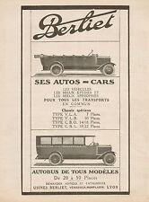 Y9009 Automobili e Autobus BERLIET - Pubblicità d'epoca - 1921 Old advertising